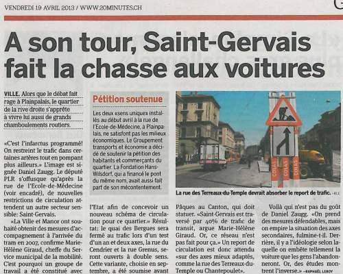 A son tour St-Gervais fait la chasse aux voitures
