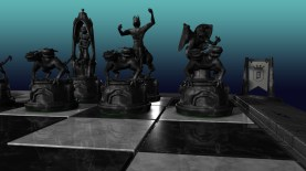3D Chessboard, 3D modelling - Maya - Ambient occlusion, shadow