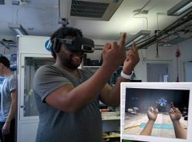 My boss testing the prototype