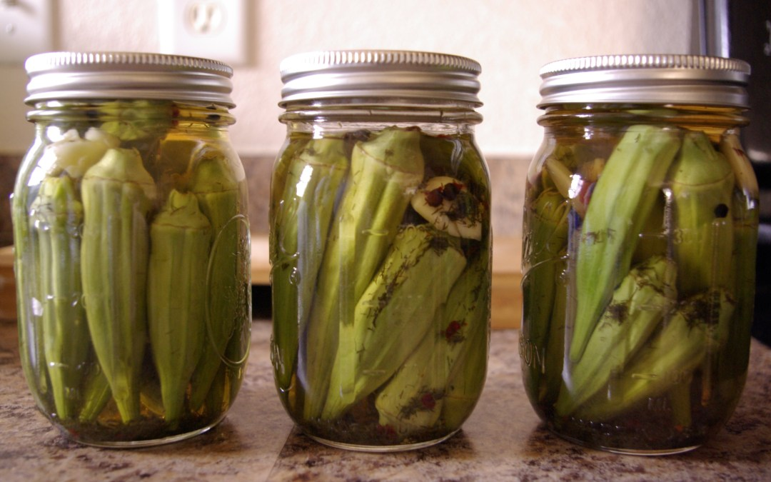 Fast, Easy Pickled Okra & Cucumbers (and a bonus salad recipe)