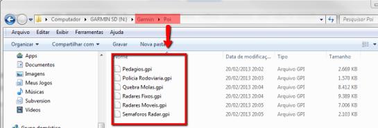 Alertas e radares na pasta POI do GPS GARMIN
