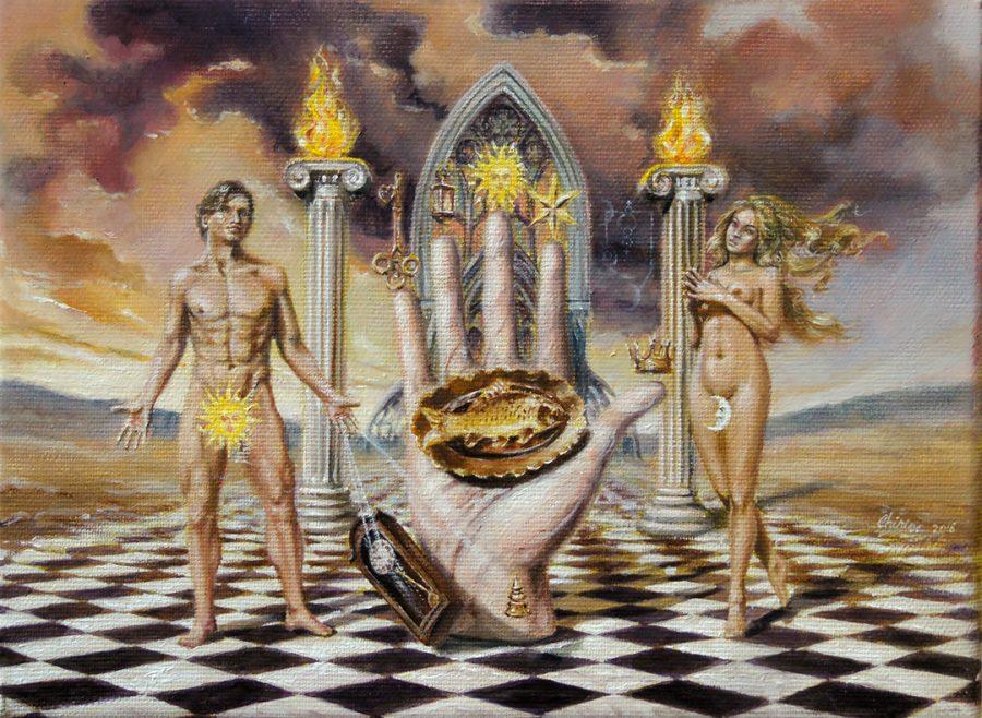 Surrealist ar oil painting Alchemical hand by Daniel Chiriac