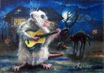 Halloween song – ACEO art card of a rat playing guitar