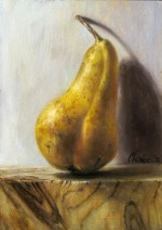 LOOK! A realist painting of a pear but photorealist still life artwork
