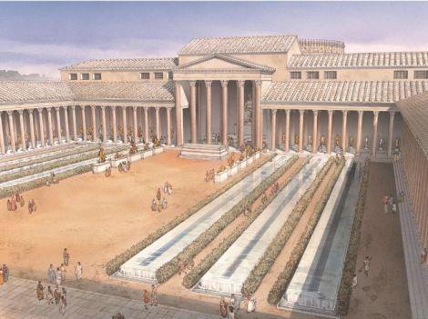 Ricostruzione del Templum Pacis ,. La mappa massiccia di Roma è stato montato all'interno su una delle pareti.