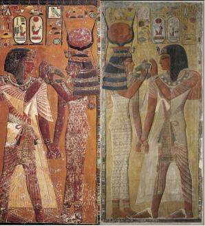 Il pilastro della tomba d Seti I: la parte a sinistra è esposta al Museo Egizio di Firenze, quella a destra è invece al Louvre