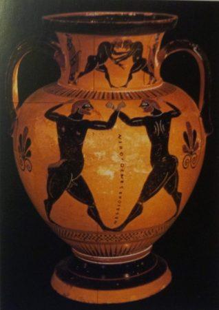 Anfora attica a figure nere, Scena di pugilato, 550-525 a.C, Londra, Brìtish Museum.