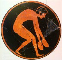 Kylix attica a figure rosse del pittore di Euergides (particolare), Atleta che si prepara al salto in lungo, da Vulci, 510 a.C. circa, Parigi, Louvre