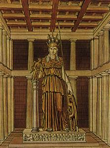Ricostruzione del posizionamento della statua criso-elefantina di Athena Parthenos all'interno del Partenone