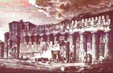 Immagine d'epoca del Tempio di Athena a Siracusa, inglobato nella chiesa