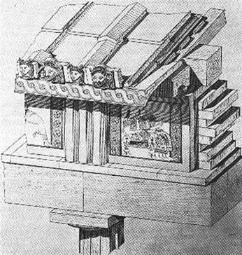 Ricostruzione della parte lignea dell'Artemisyon a Tirinto