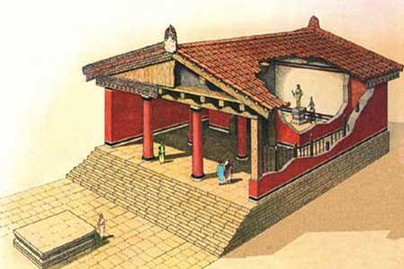 Ricostruzione di un tempio tuscanico secondo i dettami di Vitruvio