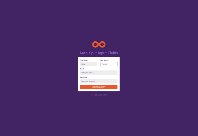 Auto-Split Form Input Fields CSS and JS Snippet