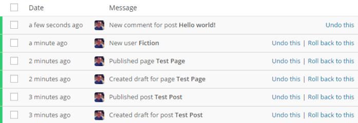 versionpress log of changes made