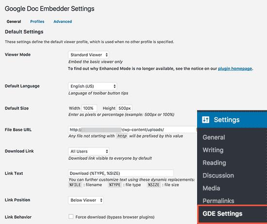 Google Docs Embedder settings