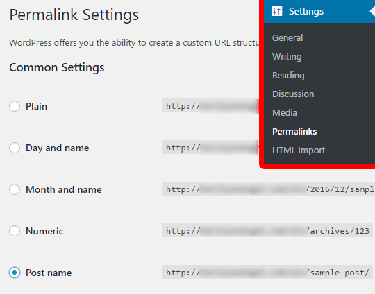 Set your WordPress permalinks before importing Wix