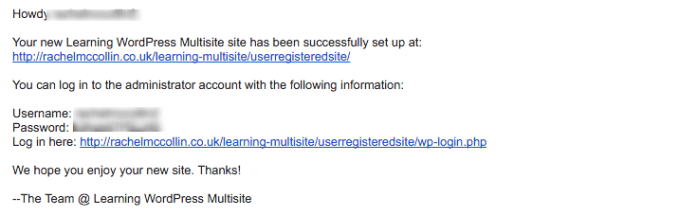 WordPress Multisite welcome email with links and credentials