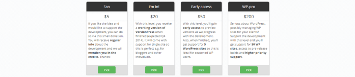 funding level options from versionpress' crowdfunding campaign