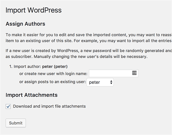 WordPress import settings