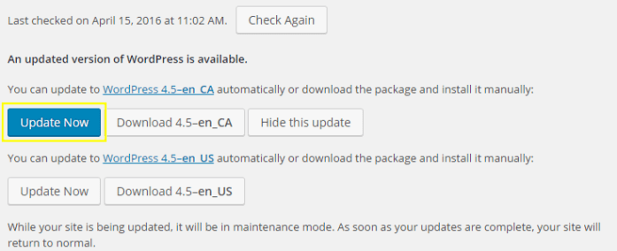 The updates page with extra buttons for the specific language pack.