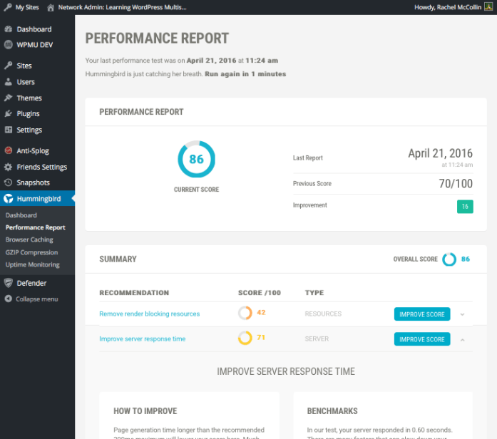 Hummingbird - improving individual performance scores