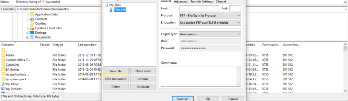 The new site settings pop-up in FileZilla.