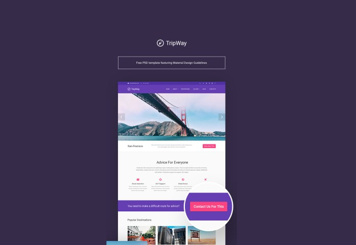 TripWay: Travel and Adventure PSD Template