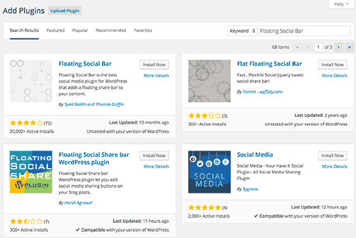 Reviewing and installing plugin from search results