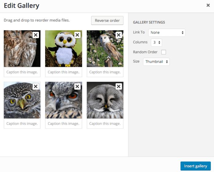 Edit gallery options