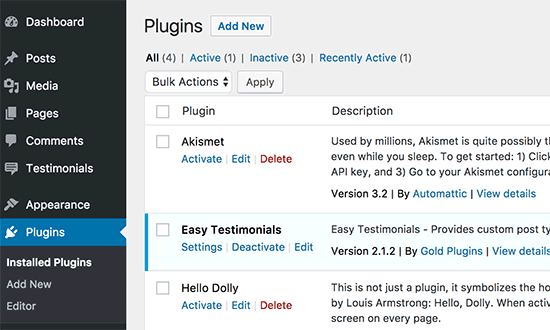 Installed WordPress plugins