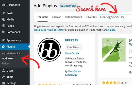 Searching for plugins from WordPress admin area