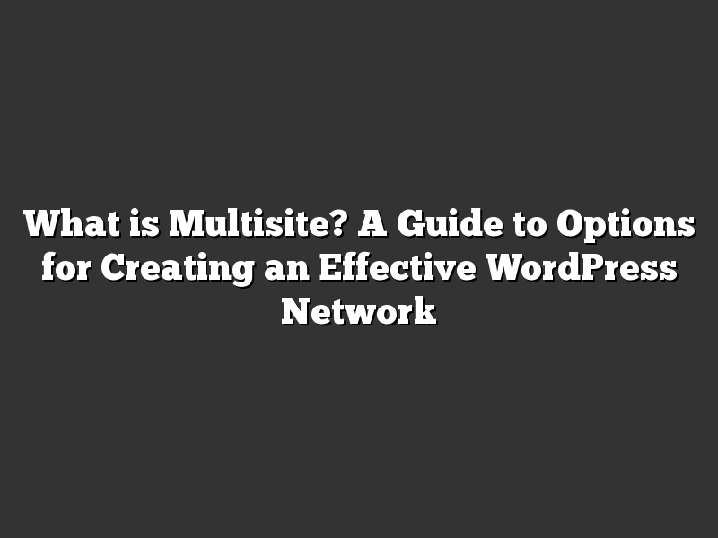 What is Multisite? A Guide to Options for Creating an Effective WordPress Network