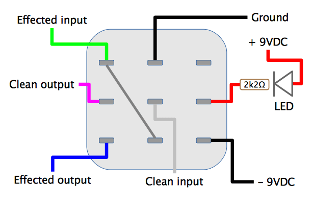 Crybaby 3PDT wiring layout