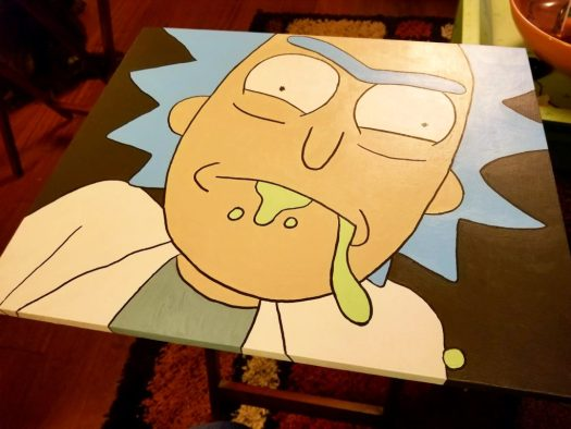 Rick Sanchez painted tv tray