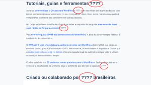 Captura de tela de um post do WordPress com os emojis trocados por ????