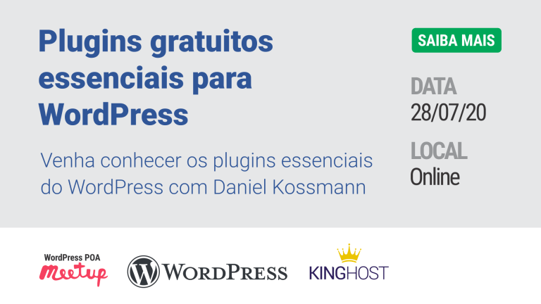 Palestra 'Plugins gratuitos essenciais para WordPress' no meetup da comunidade de WordPress de Porto Alegre