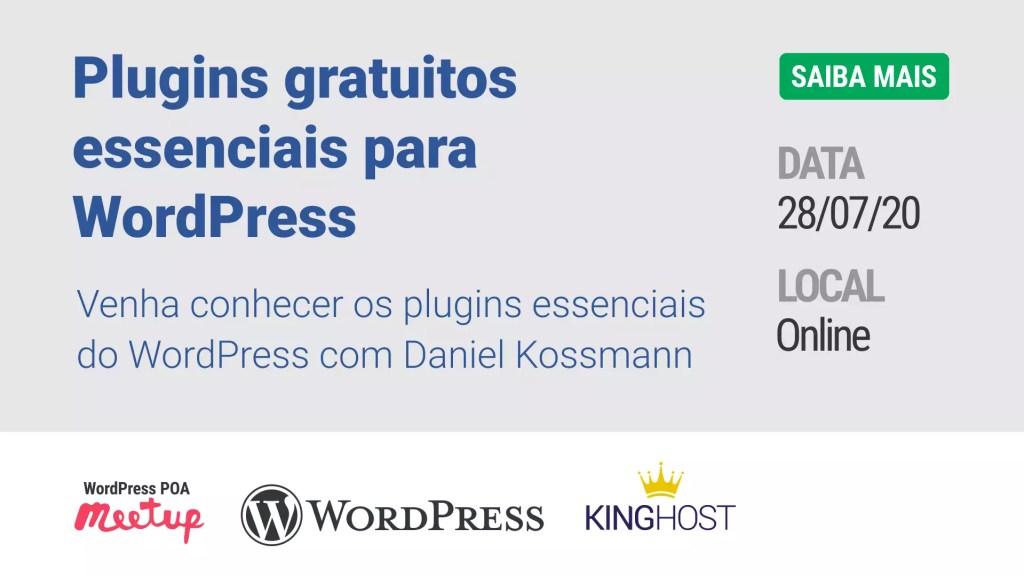 Imagem de divulgação da palestra Plugins gratuitos essenciais para WordPress
