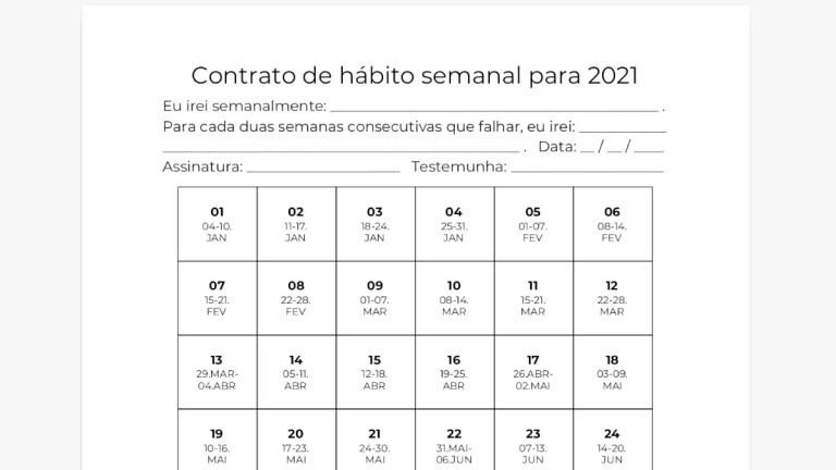 Contrato de hábito semanal para 2021