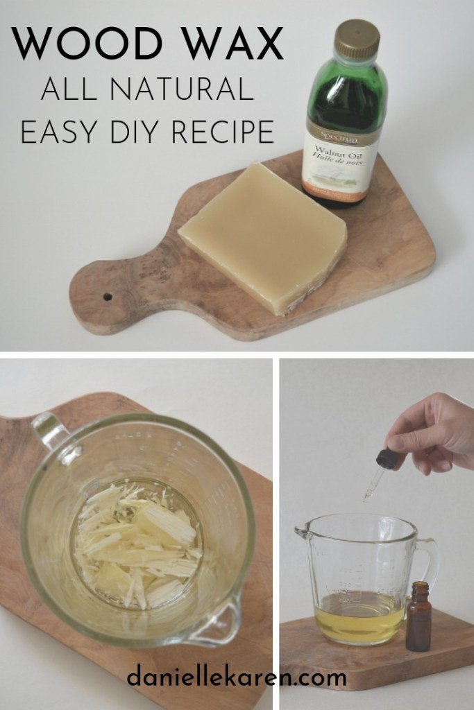 This easy DIY Wood Wax Recipe is all natural, non toxic and easy to use as a finishing wax on a new project or to spruce up wood items and furniture around the house.  Simply rub on, wiping excess with a lint free cloth.