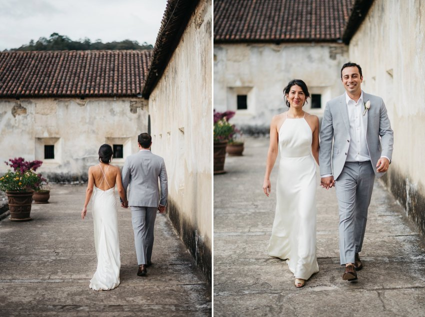Couple walking on their wedding at convento de capuchinas
