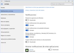 Configuración: Notificaciones y Acciones