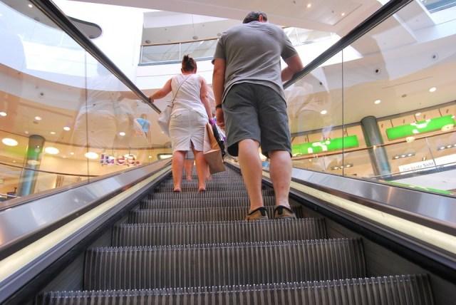 people in escalator