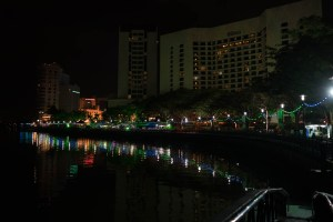 Riverside at night in Kuching