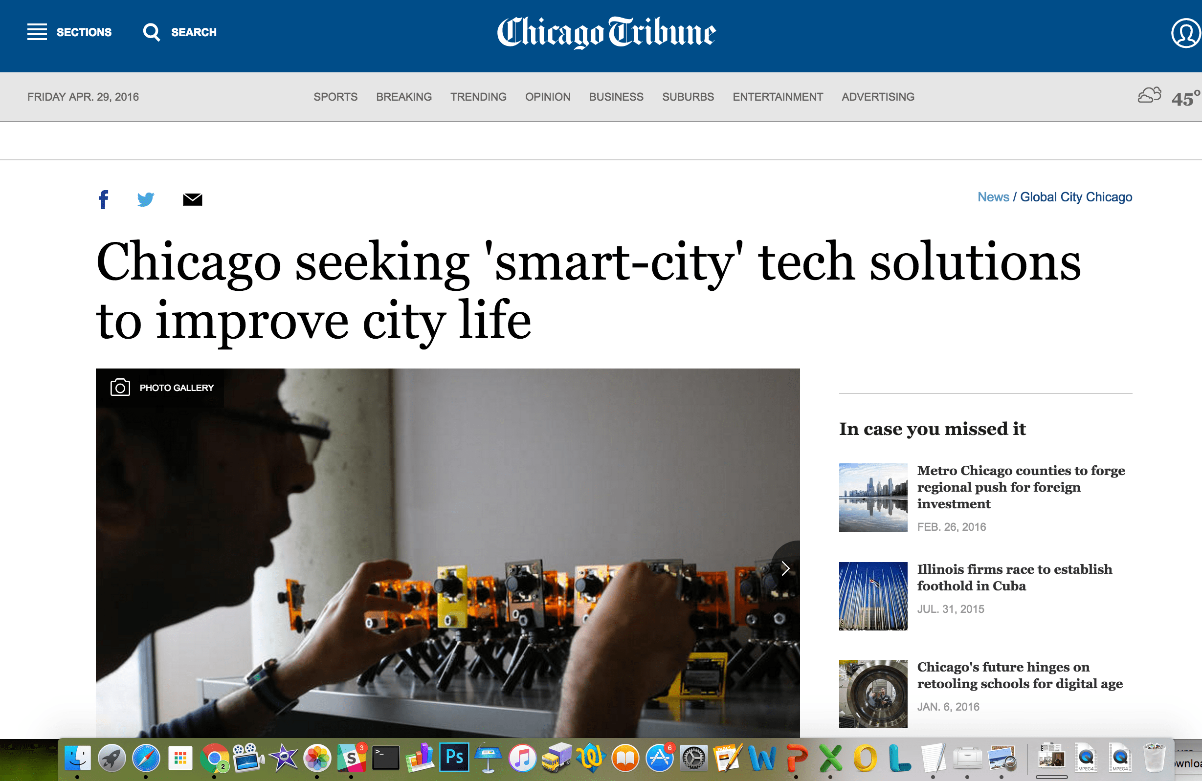 News Article: Chicago seeking 'smart-city' tech solutions to