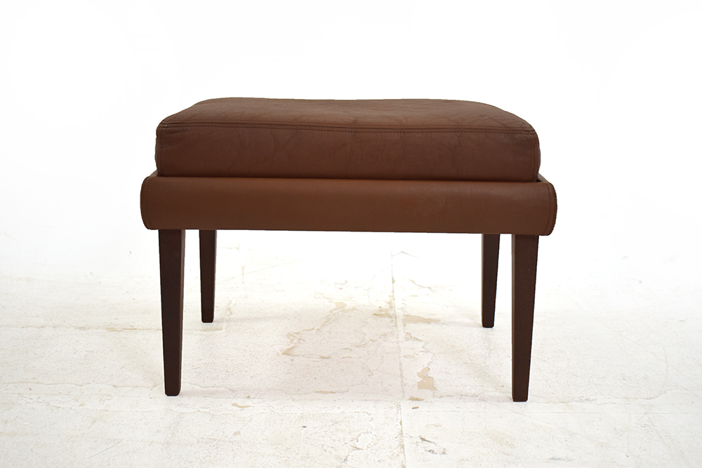 danish footstool brown leather upholstery