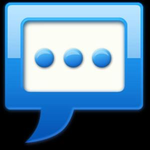 Handcent logo, blue speech bubble with dots in it.
