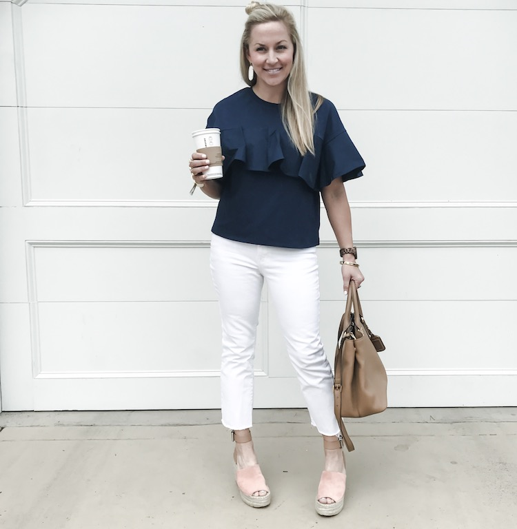 Ruffle sleeve navy top - only $20