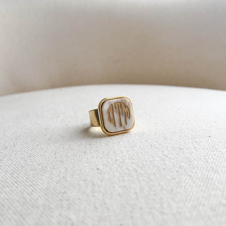 Moon and Lola monogrammed ring