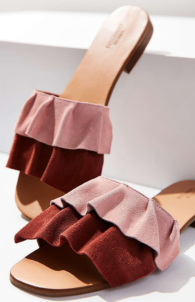 suede ruffle slides