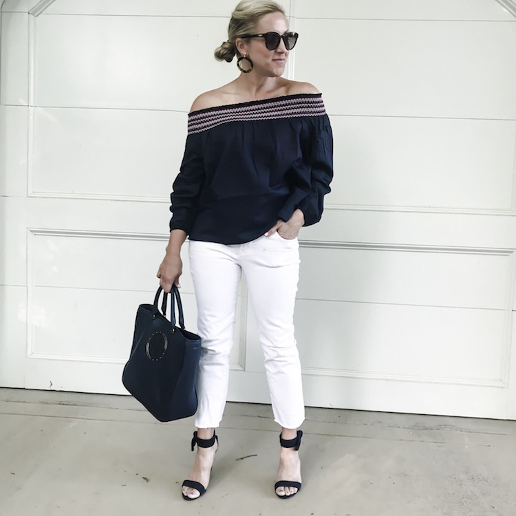 Smocked off the shoulder top styled